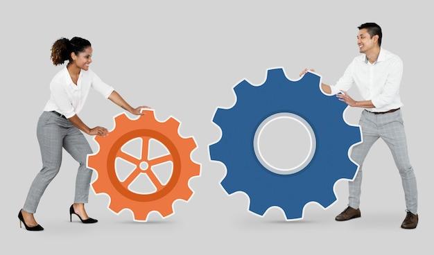 Mensen uit het bedrijfsleven verbinden met versnellingen