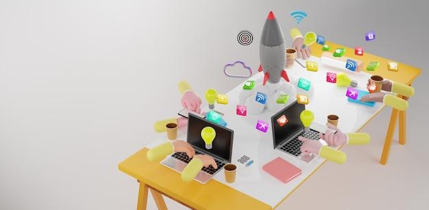 Mensen uit het bedrijfsleven werken samen op kantoor. opstarten van bedrijven, conceptueel voor brainstormen en teamwork. 3d-rendering
