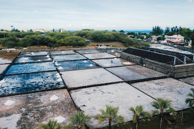 Mensen verzamelen het zout op een zonnige dag aan de oevers van de indische oceaan op mauritius