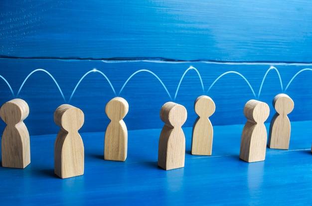Mensen zijn verbonden door een lijn.