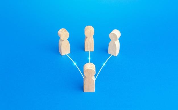 Mensen zijn via lijnen verbonden met de leider. communicatie met ondergeschikten. uitwisseling van ervaringen