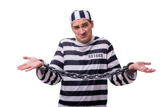Mensengevangene op wit wordt geïsoleerd dat