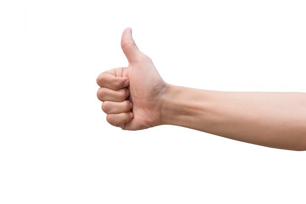 Mensenhand die duimen tonen die omhoog op wit worden geïsoleerd