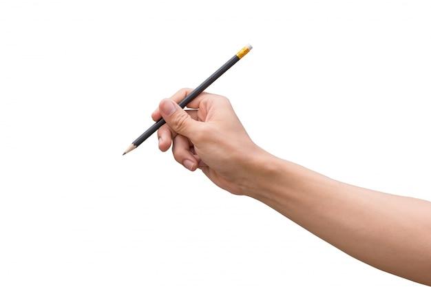Mensenhand die een potlood houden die op witte achtergrond wordt geïsoleerd
