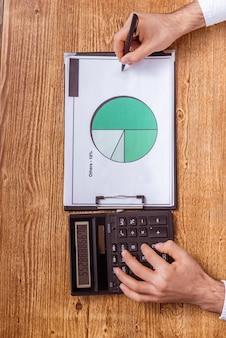Mensenhanden die in het document schrijven en een calculator gebruiken.