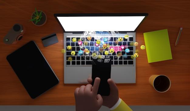 Mensenhanden die smartphone met emotiepictogrammen houden. mediamarketing, social media concept, 3d illustratie