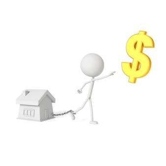 Mensenmodel dat met huis in schuldenaarconcept wordt geketend