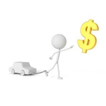 Mensenmodel geketend met auto in schuldenaarconcept