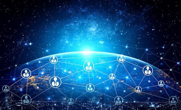Mensennetwerk en globaal communicatieconcept