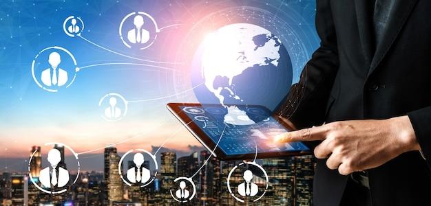 Mensennetwerk en wereldwijd communicatieconcept