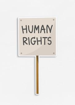 Mensenrechten plakkaatsymbool op geïsoleerde