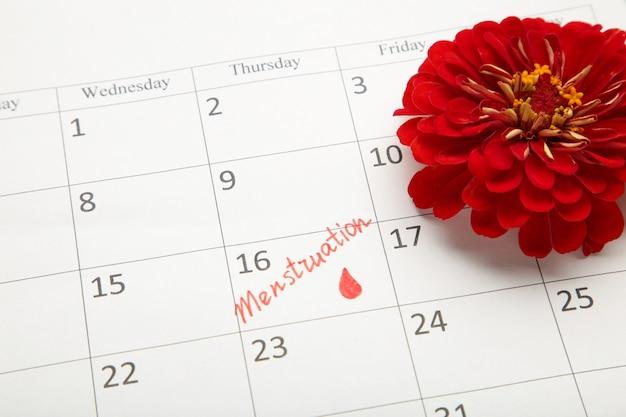 Menstruatiekalender met katoenen tampons en maandverband. kritieke dagen van de vrouw, bescherming van de hygiëne van de vrouw. bovenaanzicht