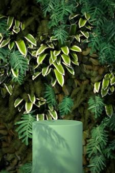 Merchandising platform er is een natuurlijke boomachtergrond. 3d-scène.