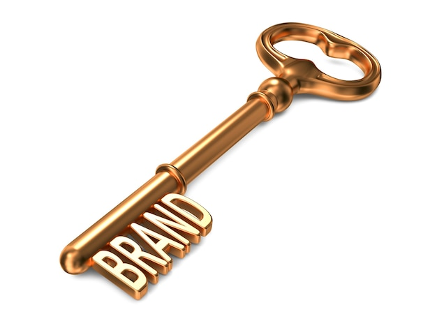 Merk - golden key. 3d-weergave. bedrijfsconcept.