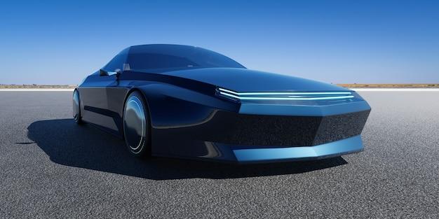 Merkloze elektrische ev conceptauto op asfaltweg. 3d-rendering met mijn eigen creatief ontwerp.