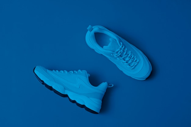 Merkloze moderne sportieve schoenen, sneakers op blauw