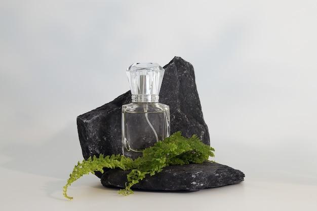 Merkloze parfumfles staande op stenen podium met planten. parfumpresentatie op de witte achtergrond. mock-up. trending concept in natuurlijke materialen. de essentie van vrouwen en mannen. natuurlijke cosmetica.