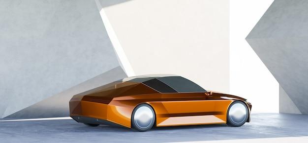 Merkloze sportparking bij een moderne wandgarage met geometrisch ontwerp. 3d-rendering met mijn eigen creatief ontwerp.
