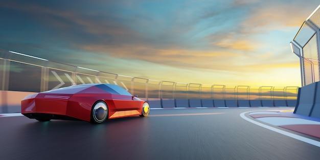 Merkloze sportwagen rijdt op het circuit. 3d-rendering met mijn eigen creatief ontwerp.