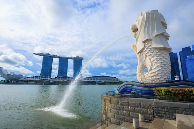 Merlionpark in de stad van singapore