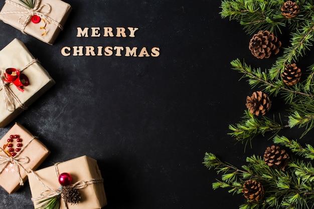 Merry christmas belettering met kopie ruimte