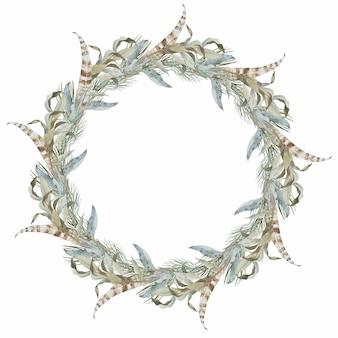 Merry christmas krans samenstelling winter ronde frame