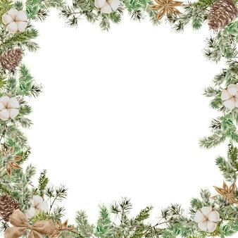 Merry christmas square frame-compositie met dennen- en dennentakken, katoen, anijsbloem, strik en kegel. winter