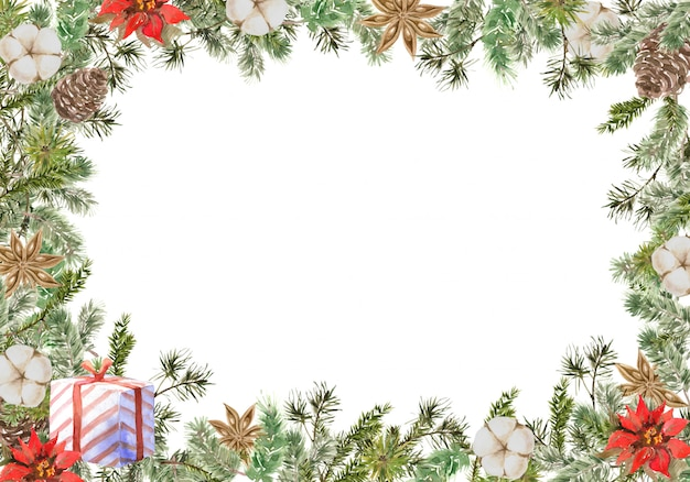 Merry christmas square frame-compositie met pijnboom- en dennentakken, katoen, anijsbloem, cadeau en kegel. winter
