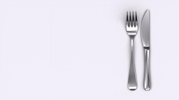 Mes en vork die op witte achtergrond wordt geïsoleerd. kopieer ruimte. koken pictogram. symbool.