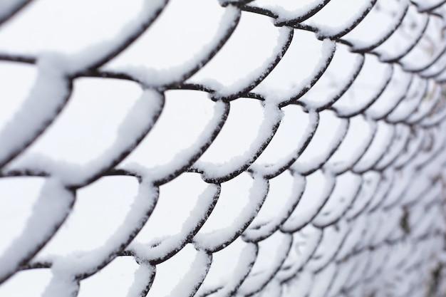 Mesh hek rooster verpletterd door sneeuw.
