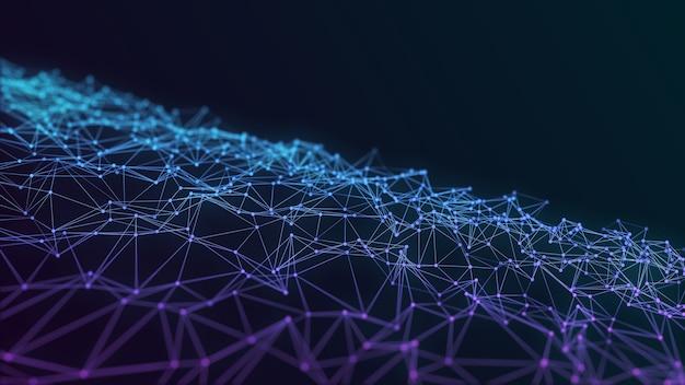 Mesh verbinding van stippen en lijnen op donkerblauwe futuristische achtergrond. ruimtetechnologie concept illustratie met het teruggeven van veelhoekige kristallen, laag poly patroon