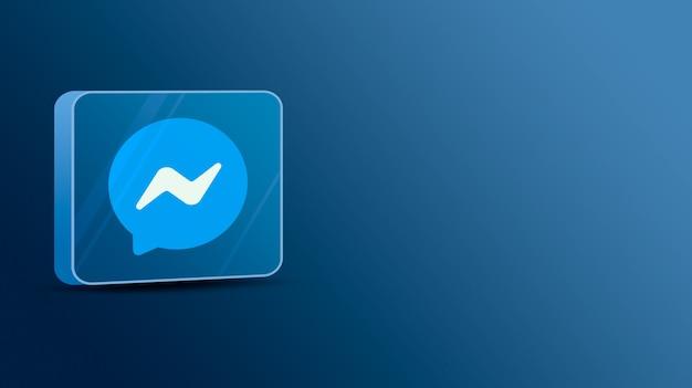 Messenger-logo op een glazen platform 3d