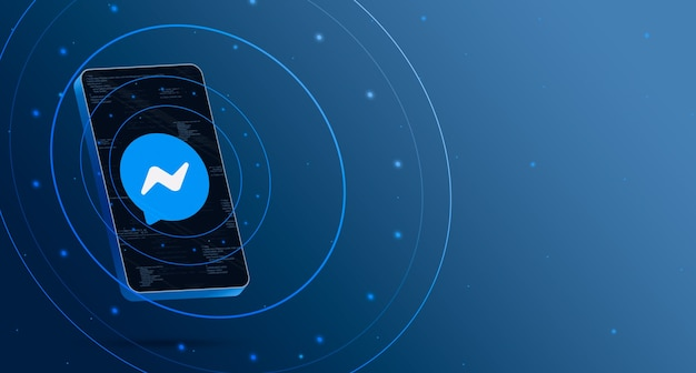 Messenger-logo op telefoon met technologische weergave, slimme 3d render