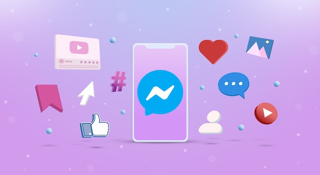 Messenger-logopictogram op de telefoon met sociale netwerkpictogrammen rond 3d