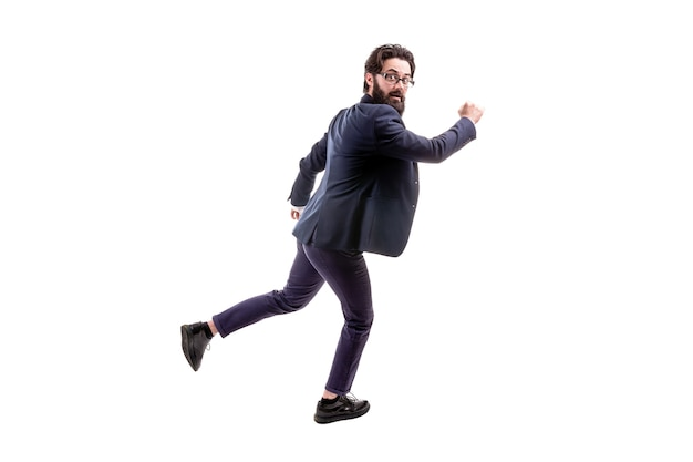 Met bebaarde zakenman in glazen, geïsoleerd op een witte achtergrond