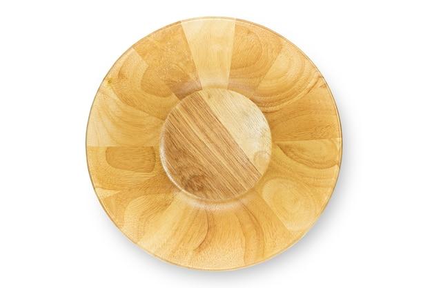 Met de hand gemaakte lege houten geïsoleerde kom