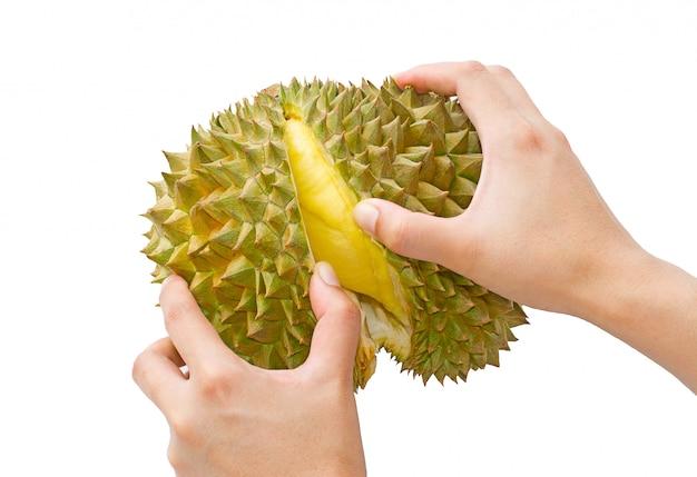 Met de hand gepeld durian geïsoleerd