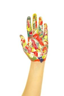 Met de hand geschilderd in kleurrijke verf op wit