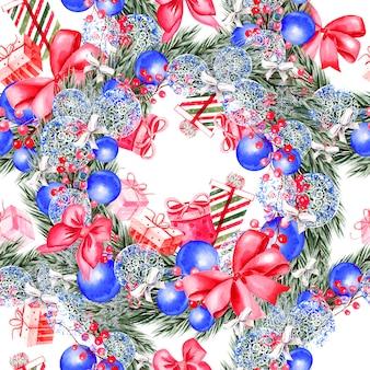 Met de hand geschilderd vrolijk kerstmis naadloos patroon met aquarel kerstboomillustratie