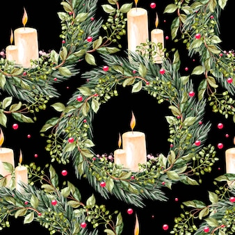 Met de hand geschilderd vrolijk kerstmis naadloos patroon