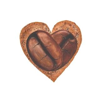 Met de hand geschilderde koffiebonen met waterverf op koffiedikoppervlak in de vorm van een hart