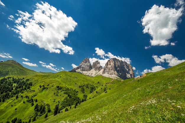 Met gras begroeide heuvels en bergen in de verte onder een blauwe hemel