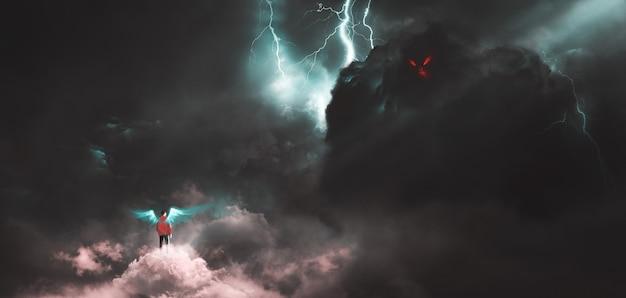 Met het gezicht naar het gigantische monster op de wolken, zijn mensen digitaal aan het schilderen.