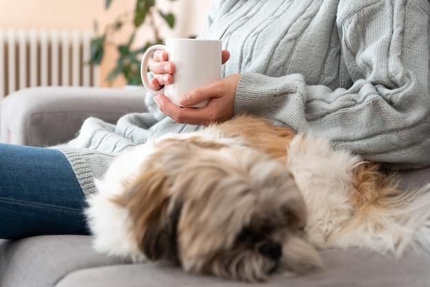 Met je hond een warme kop koffie op de bank