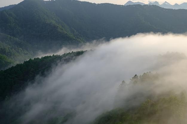 Met mist bedekte bergen en de zon die helder in goud schijnt