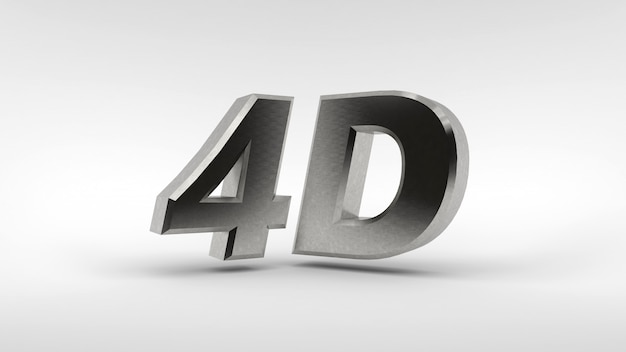Metaal 4d embleem dat op witte achtergrond met bezinningseffect wordt geïsoleerd
