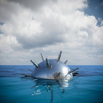 Metaalmijn midden op zee. gevaar concept. 3d render