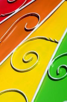 Metaaltextuur van een stuk van gekleurde muur met een gesmeed patroon