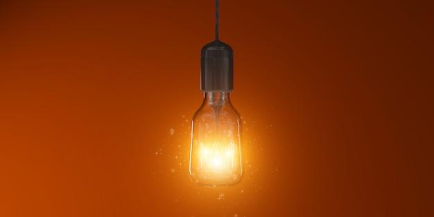 Metafoor - lamp als idee - 3d illustratie