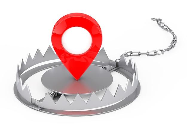 Metal bear trap met rode kaart aanwijzer target pin op een witte achtergrond. 3d-rendering